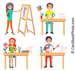 Process of Creating Art Picture and Making Origami