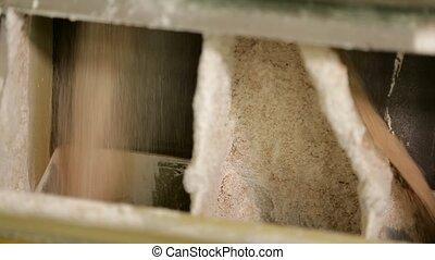 Process of flour production at a flour mill. Separation of...