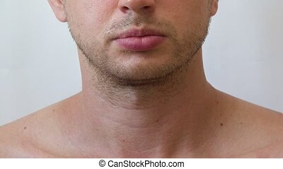 Process of growing beard on the face of young man, timelapse