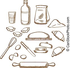 Process of kneading dough in sketch style