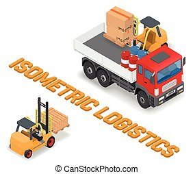 Process of loading the trucks with a forklift