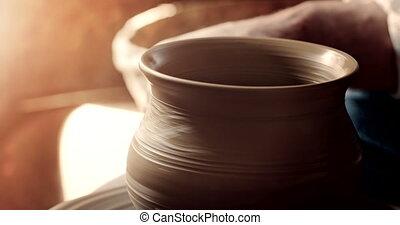Process of Making Clay Jug - Potter makes clay jug shape...