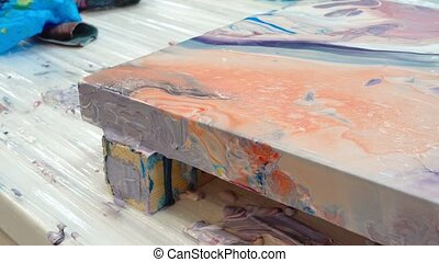 Process of painting picture in art fluid method