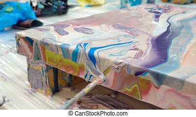 Process of painting picture in art fluid technology