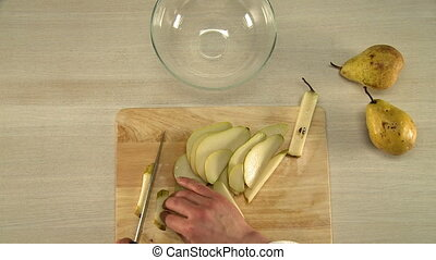 Process of pear slicing view from above