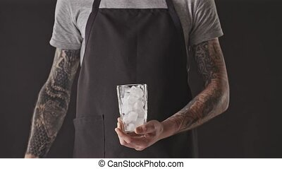 Process of preparation cold summer refreshing ice coffee ...