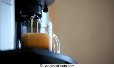 Process of preparation Of coffee, a closeup. HD. 1920x1080