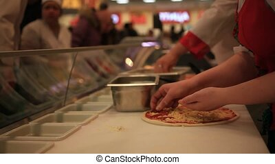 Process of preparing pizza in grocery store. HD. 1920x1080 -...