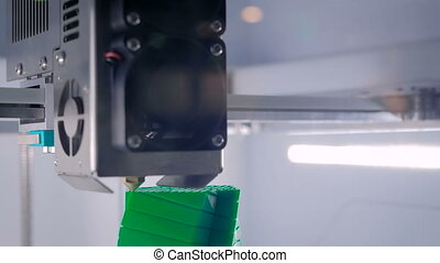 Process of printing plastic model on automatic 3d printer...