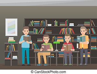 Process of Reading Books in Educational Library