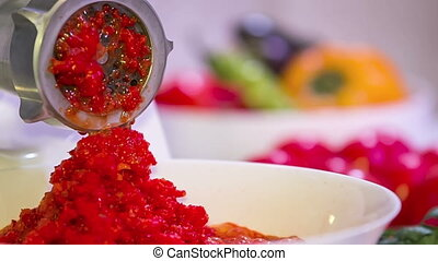 Process of Red Paprika Mincing - Footage of red paprika...