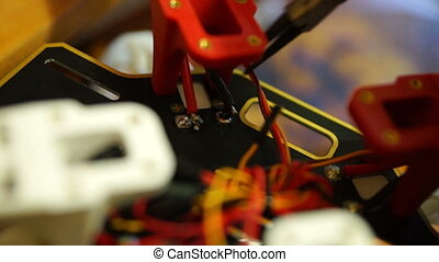 Process of soldering wires close-up