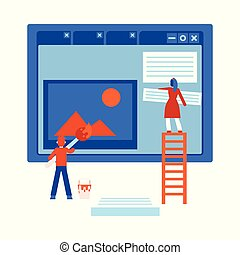 Process of web site design development - isolated flat cartoon vector illustration.