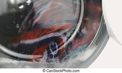 Process of working of washing machine. Close-up