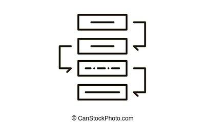 Process Plan Icon Animation. black Process Plan animated icon on white background