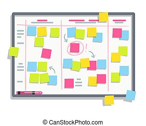 Process planning board with color sticky notes. Scrum task...