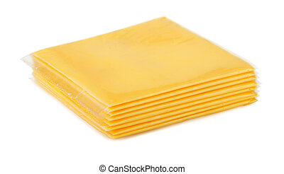 Wrapped processed sliced cheese isolated on white