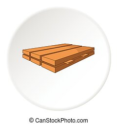 Processed wooden logs icon, cartoon style - Processed wooden...