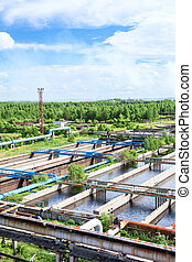 processer, antenne, aerobic, sekundære, behandling, vand, systemer, biologiskt affald, udsigter