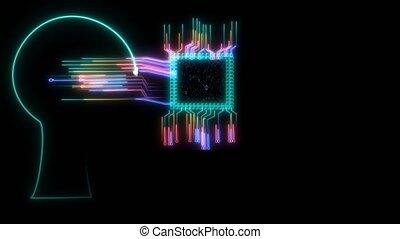processer, futuriste, grand, technologie, trasfer, puce, binaire, intelligent, données, puissant, numérique, exabyte