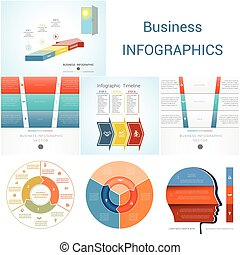 processes., strony, opcje, trzy, element, diagram, infographics, kroki