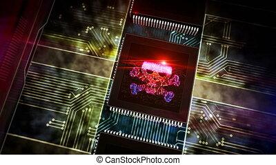 processeur, crime, usine, cyber, brûlé, laser, symboles, crâne