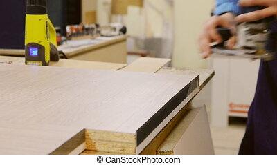 Processing furniture part edge - edging furniture hinges...