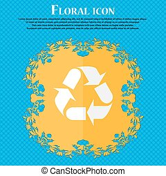 processing icon sign. Floral flat design on a blue abstract background with place for your text. Vector