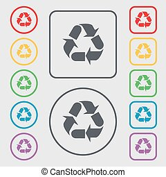 processing icon sign. Symbols on the Round and square buttons with frame. Vector
