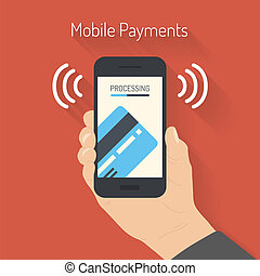 Processing of mobile payments illustration - Flat design...