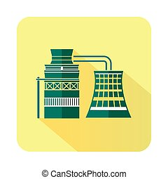 Processing of raw materials icon, flat style - Processing of...
