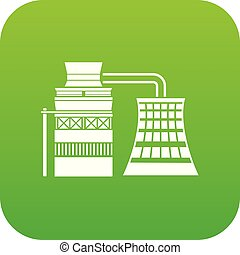 Processing of raw materials icon green vector isolated on ...