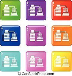 Processing of raw materials icons set 9 color collection ...