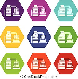 Processing of raw materials icons set 9 vector - Processing ...