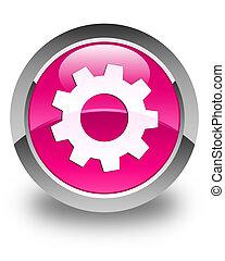 processo, ícone, lustroso, cor-de-rosa, redondo, botão