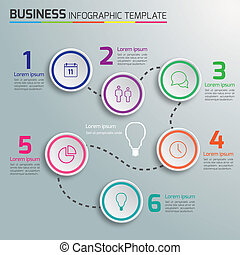 processo, 6-step, infographics