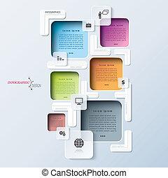 processo, abstratos, modernos, modelo, infographics