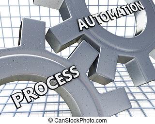 processo, automação, ligado, a, mecanismo, de, metal, engrenagens