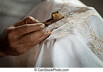processo, batik, bianco, pittura, stoffa