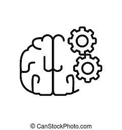 processo, cérebro, desenho, ilustração