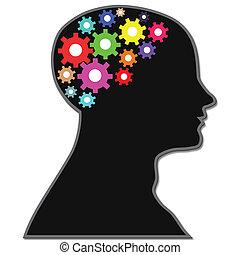 processo, cérebro, engrenagens
