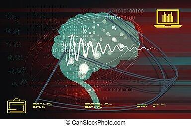 processo, complexo, cérebro, ilustração acionária