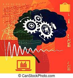 processo, complexo, cérebro, trabalhando, -, ilustração