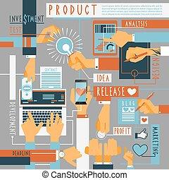 processo, conceito, producao, mão, ícones