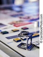 processo, cor manejo, vidro, imprimindo, magnificar