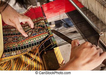 processo, de, tecendo, tailandês, seda