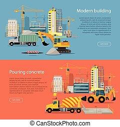 processo, despejar, modernos, concrete., edifício.