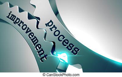 processo, gears., metal, melhoria