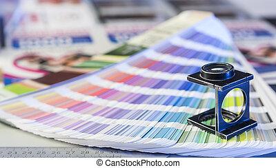 processo, gerência, swatches, vidro, imprimindo, magnificar, cor