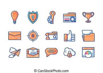 processo, icone, set, web, sito web, programmazione, sviluppo